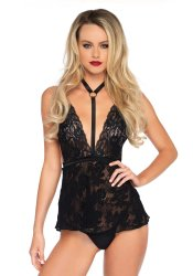 2 pc. Harness Babydoll Set Svart #81549