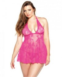 Stretch Lace Chemise & Matching G-String