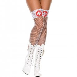 White Fishnet Stockings With Red Cross