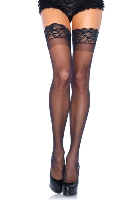 Stay Up Genomskinlig Thigh Highs Svart #1022